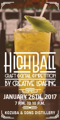 General Admission to Creative Loafing's HighBall Craft Cocktail Competition 1/26/17